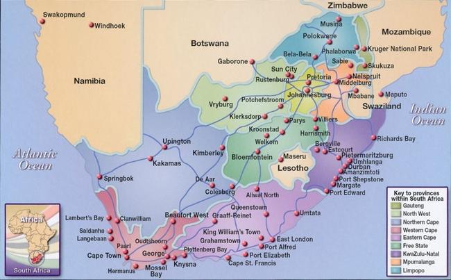 Kaart-van-Zuid-Afrika-met-steden